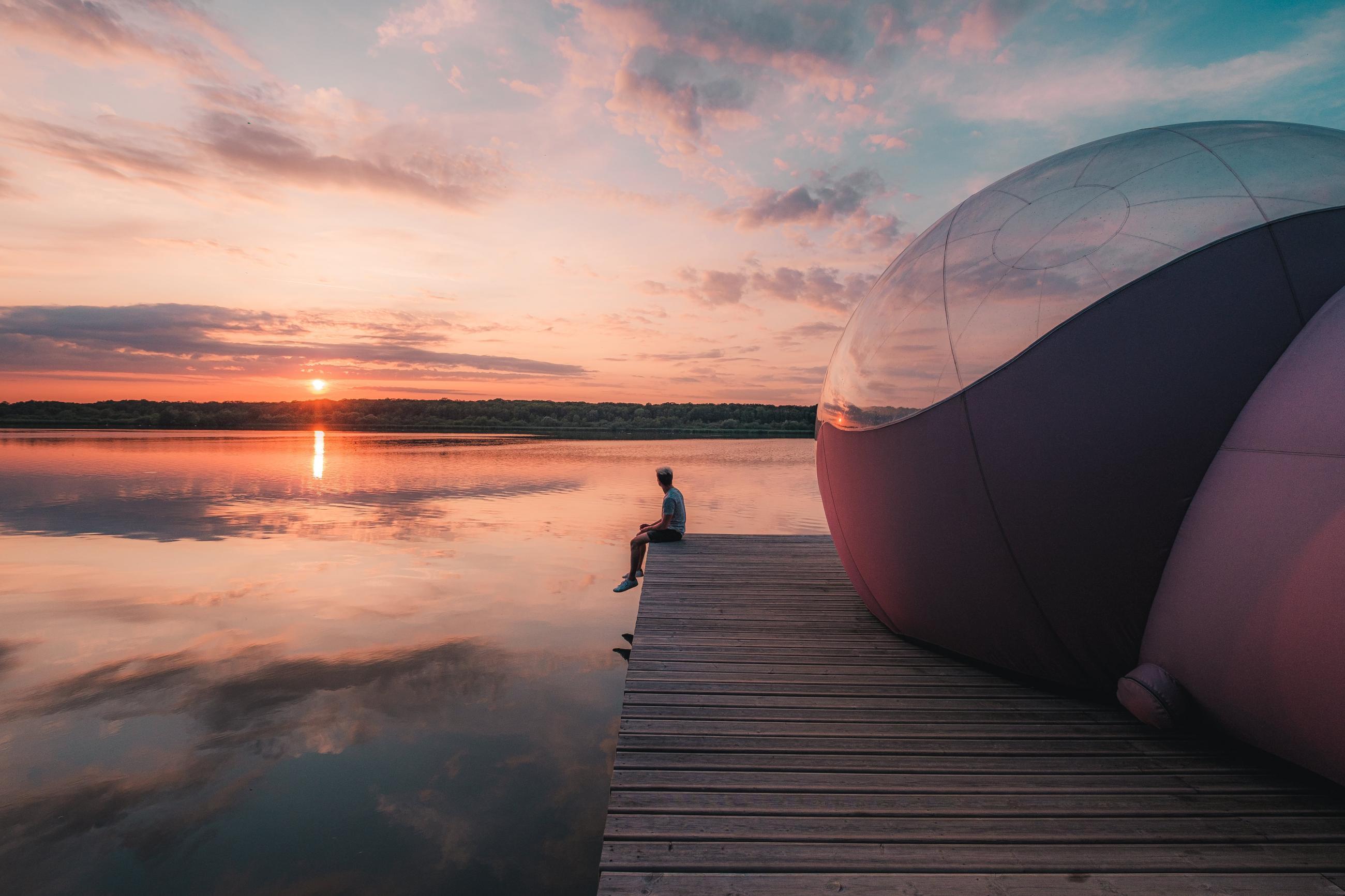 Ik heb in een bubbel aan de rand van het meer van Virelles ...